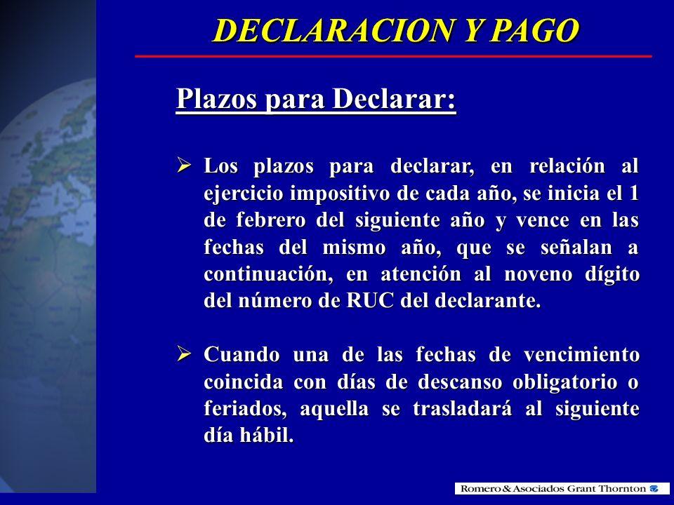 DECLARACION Y PAGO DECLARACION Y PAGO