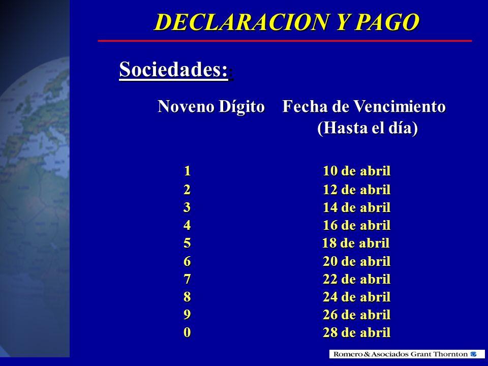 DECLARACION Y PAGO Sociedades:: Noveno Dígito Fecha de Vencimiento