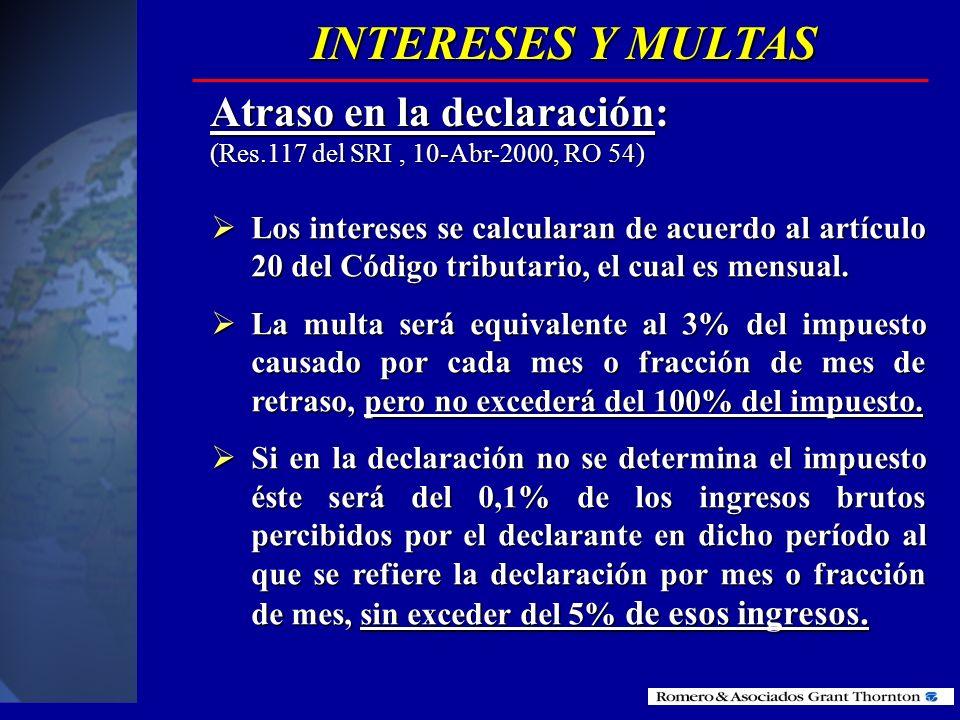 INTERESES Y MULTAS Atraso en la declaración: