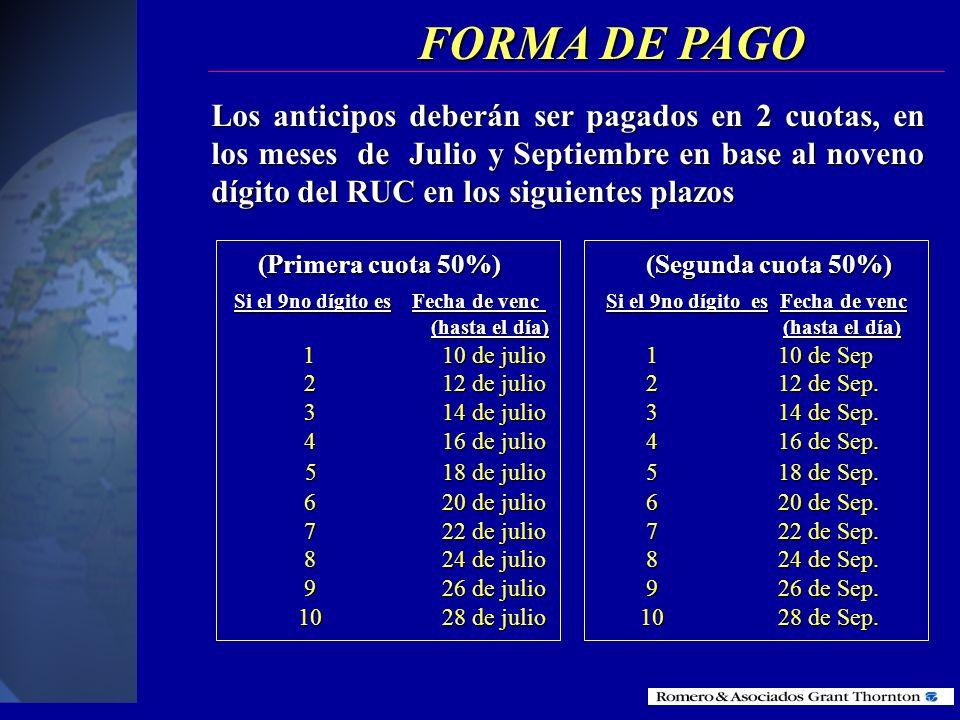 FORMA DE PAGO (Primera cuota 50%) (Segunda cuota 50%)