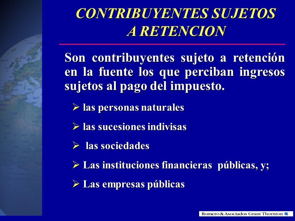 CONTRIBUYENTES SUJETOS A RETENCION