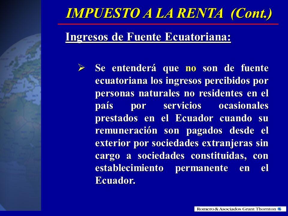 IMPUESTO A LA RENTA (Cont.)