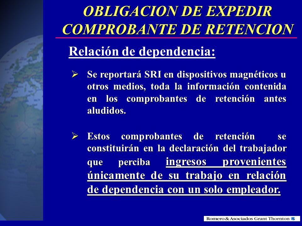 OBLIGACION DE EXPEDIR COMPROBANTE DE RETENCION