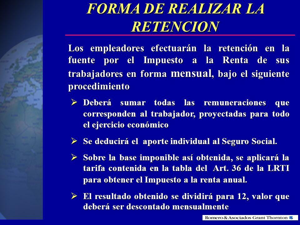 FORMA DE REALIZAR LA RETENCION