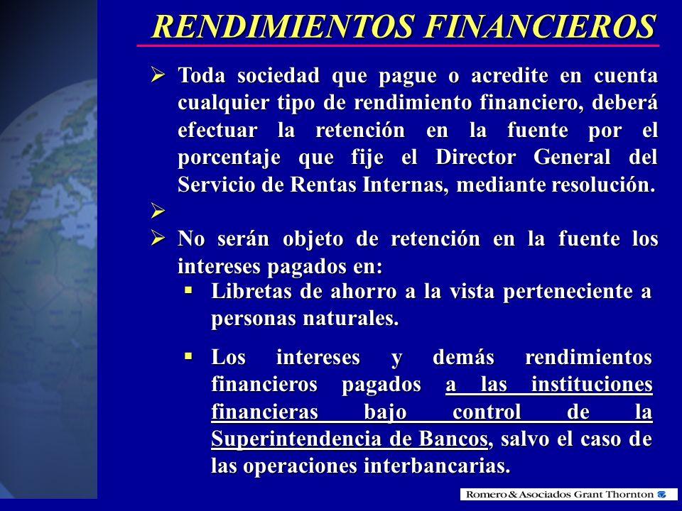 RENDIMIENTOS FINANCIEROS
