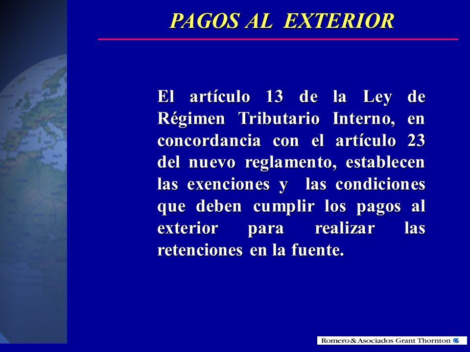 PAGOS AL EXTERIOR