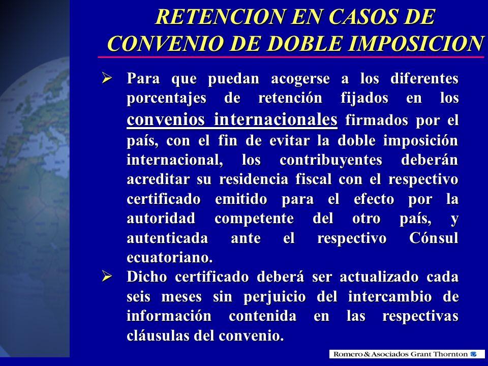 RETENCION EN CASOS DE CONVENIO DE DOBLE IMPOSICION