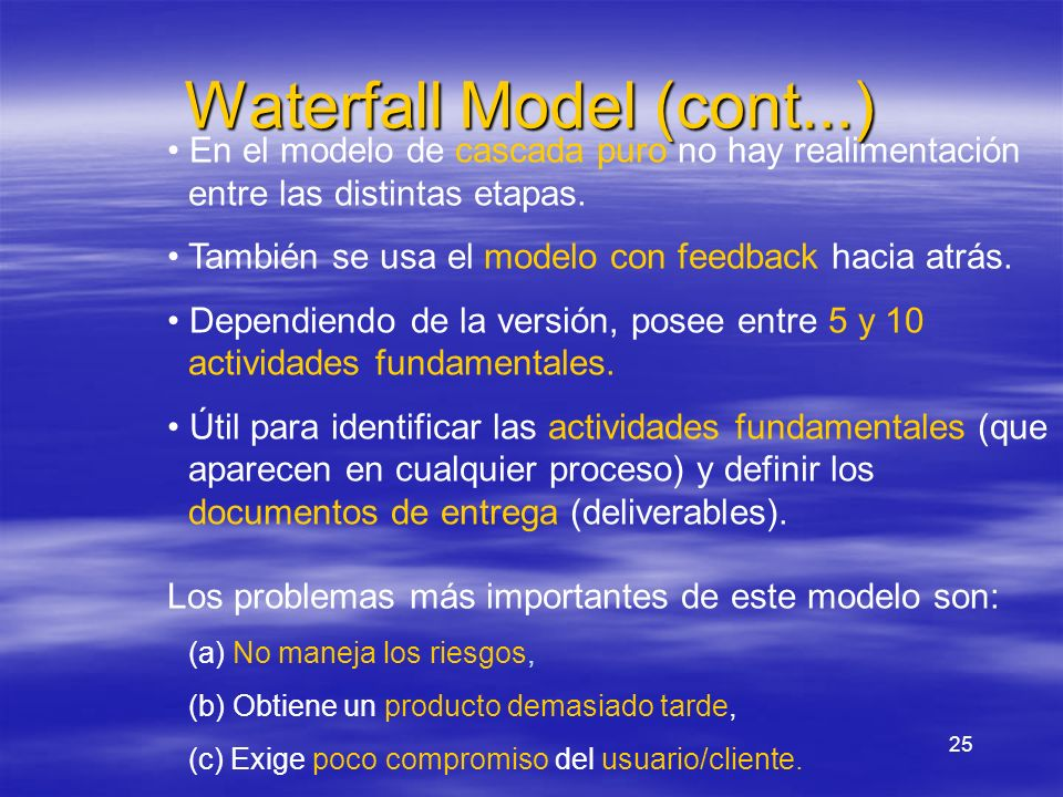 Waterfall Model (cont...)