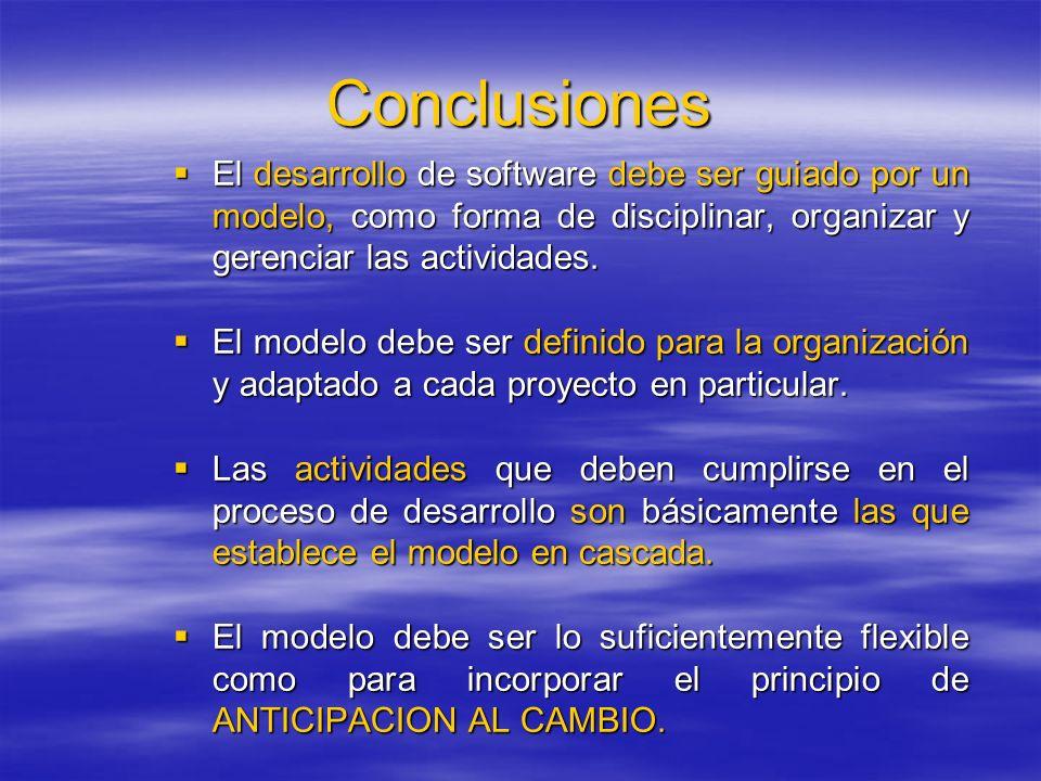 Conclusiones El desarrollo de software debe ser guiado por un modelo, como forma de disciplinar, organizar y gerenciar las actividades.