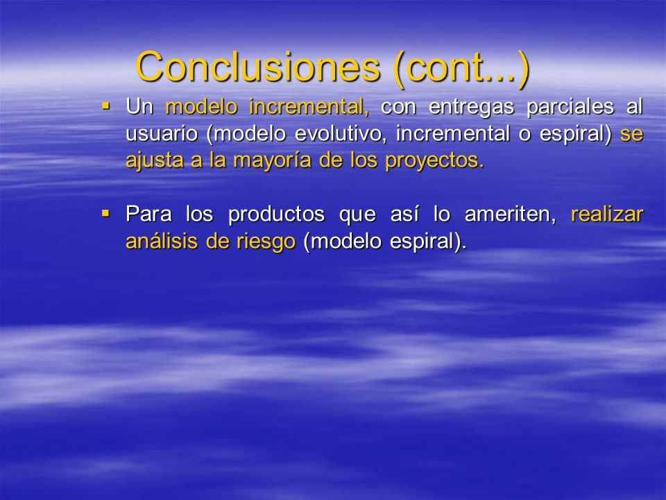 Conclusiones (cont...)