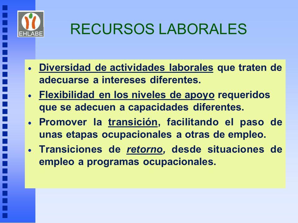 RECURSOS LABORALES Diversidad de actividades laborales que traten de adecuarse a intereses diferentes.