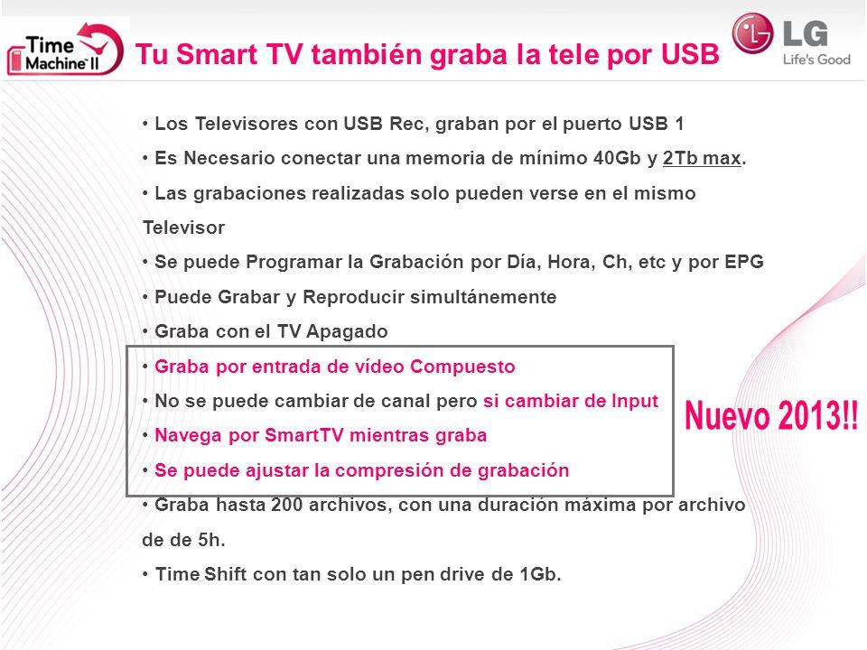 Nuevo 2013!! Tu Smart TV también graba la tele por USB