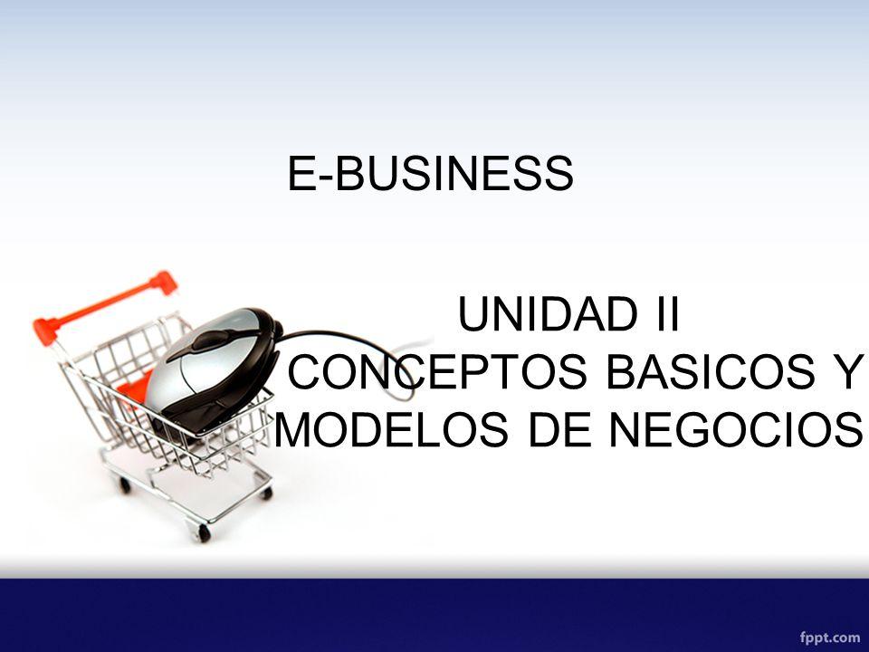 E-BUSINESS UNIDAD II CONCEPTOS BASICOS Y MODELOS DE NEGOCIOS