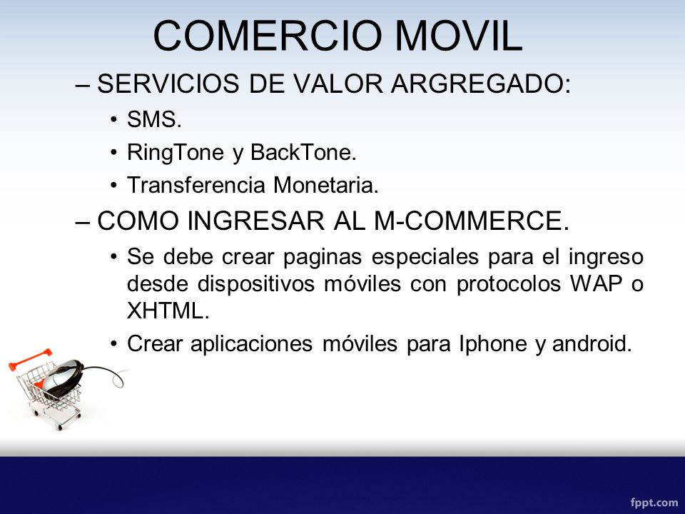 COMERCIO MOVIL SERVICIOS DE VALOR ARGREGADO:
