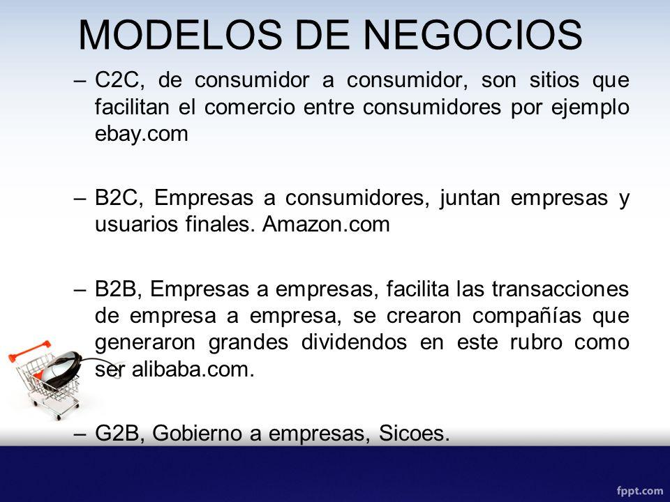 MODELOS DE NEGOCIOSC2C, de consumidor a consumidor, son sitios que facilitan el comercio entre consumidores por ejemplo ebay.com.