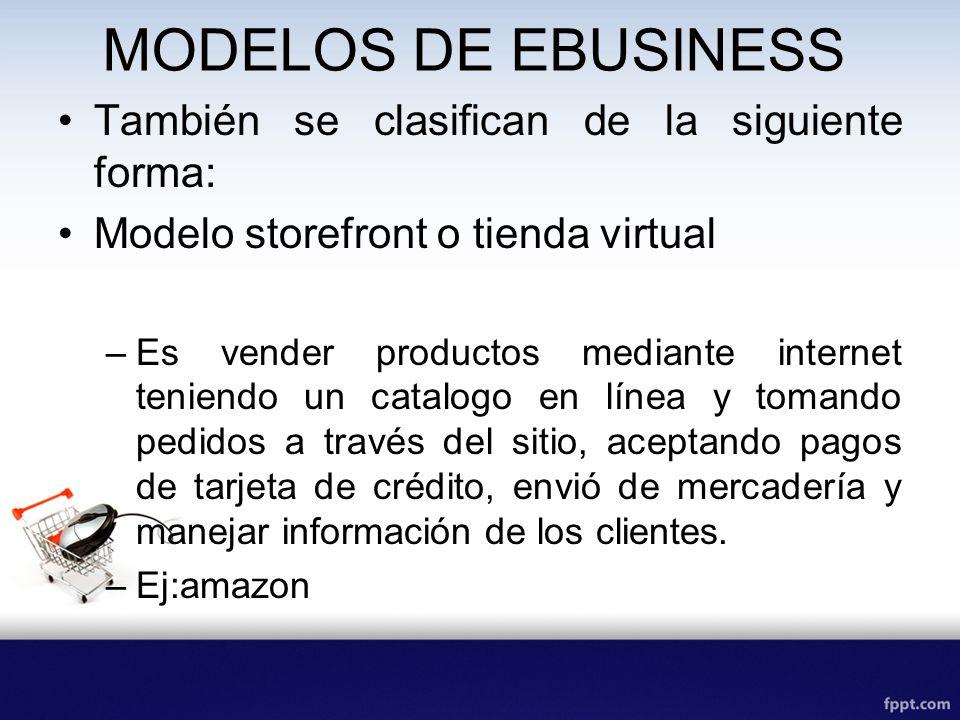 MODELOS DE EBUSINESS También se clasifican de la siguiente forma: