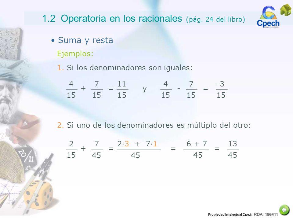 1.2 Operatoria en los racionales (pág. 24 del libro)