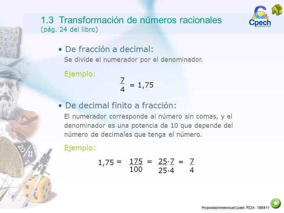 1.3 Transformación de números racionales (pág. 24 del libro)