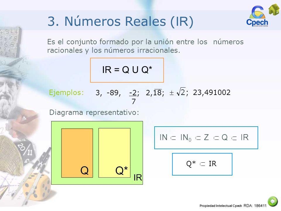 3. Números Reales (IR) IR = Q U Q* IN IN0 Z Q IR