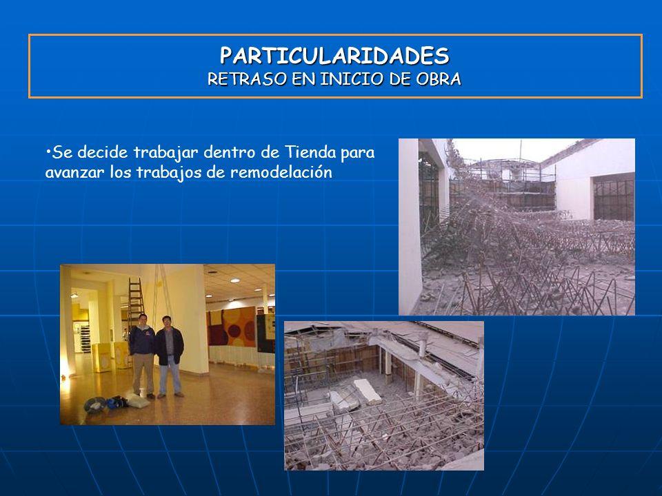 PARTICULARIDADES RETRASO EN INICIO DE OBRA