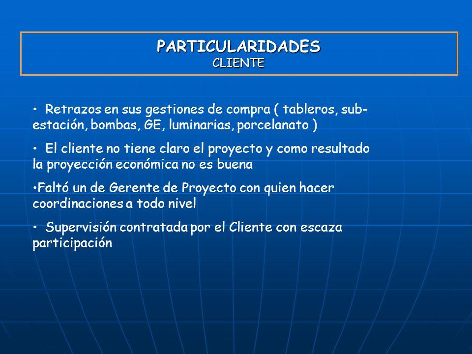 PARTICULARIDADES CLIENTE