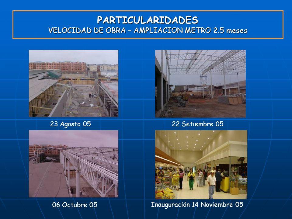 PARTICULARIDADES VELOCIDAD DE OBRA – AMPLIACION METRO 2.5 meses