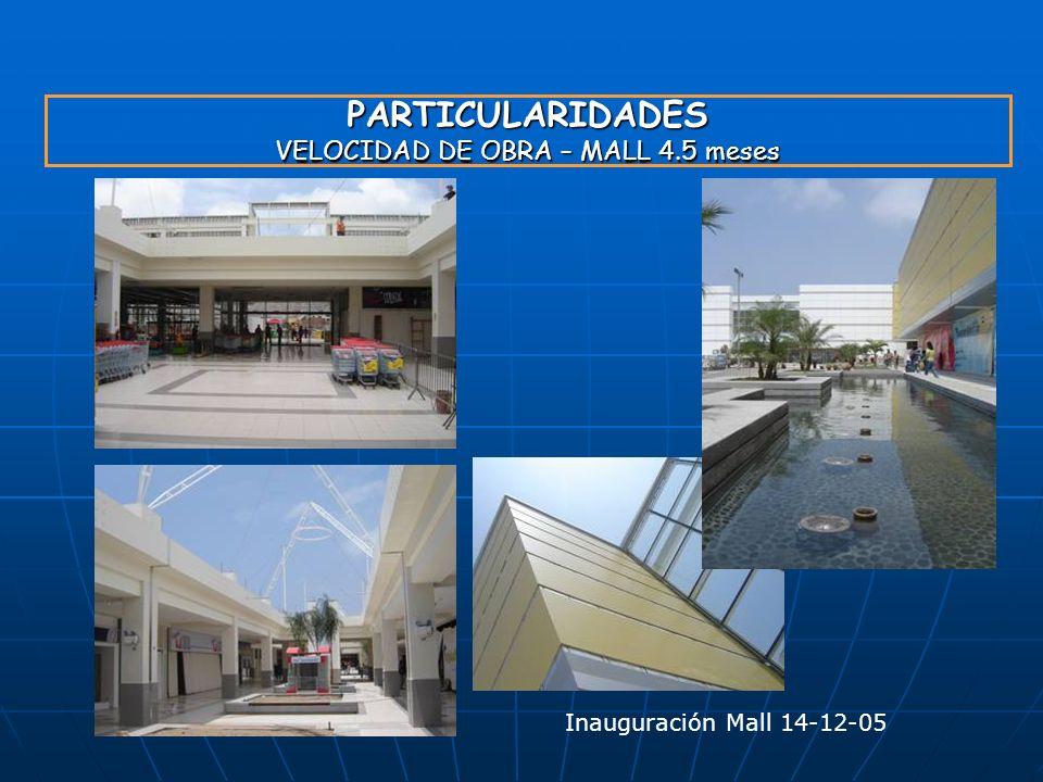 PARTICULARIDADES VELOCIDAD DE OBRA – MALL 4.5 meses