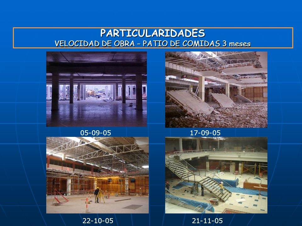PARTICULARIDADES VELOCIDAD DE OBRA – PATIO DE COMIDAS 3 meses
