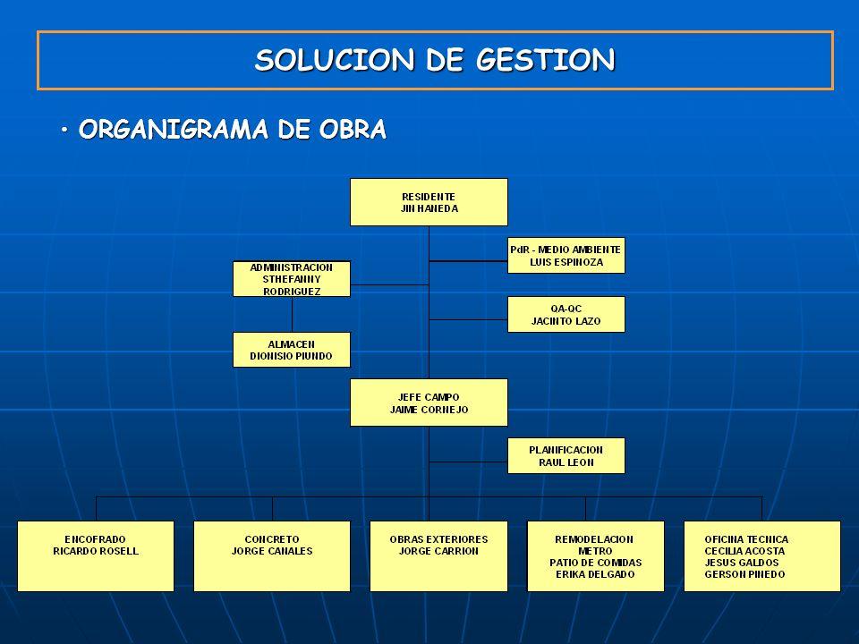 GYM S.A. 23/03/2017 SOLUCION DE GESTION ORGANIGRAMA DE OBRA