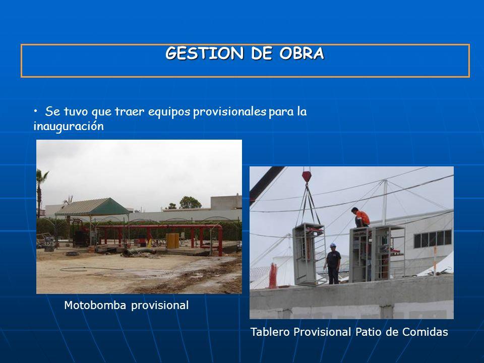 GYM S.A.23/03/2017. GESTION DE OBRA. Se tuvo que traer equipos provisionales para la inauguración. Motobomba provisional.