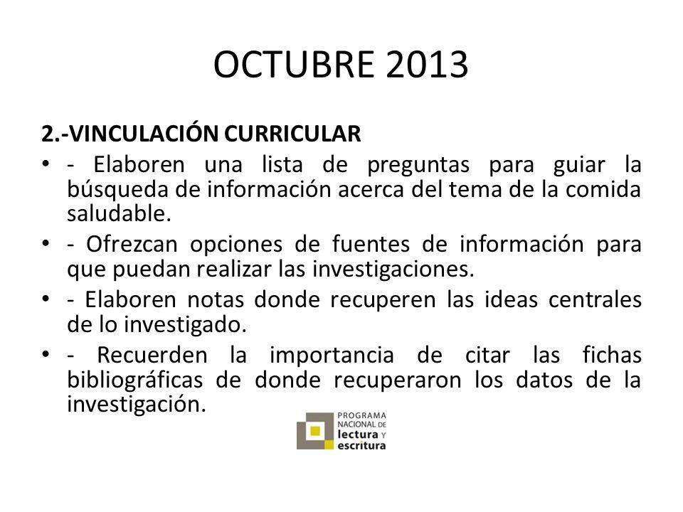 OCTUBRE 2013 2.-VINCULACIÓN CURRICULAR