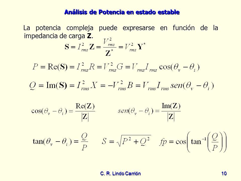 La potencia compleja puede expresarse en función de la impedancia de carga Z.