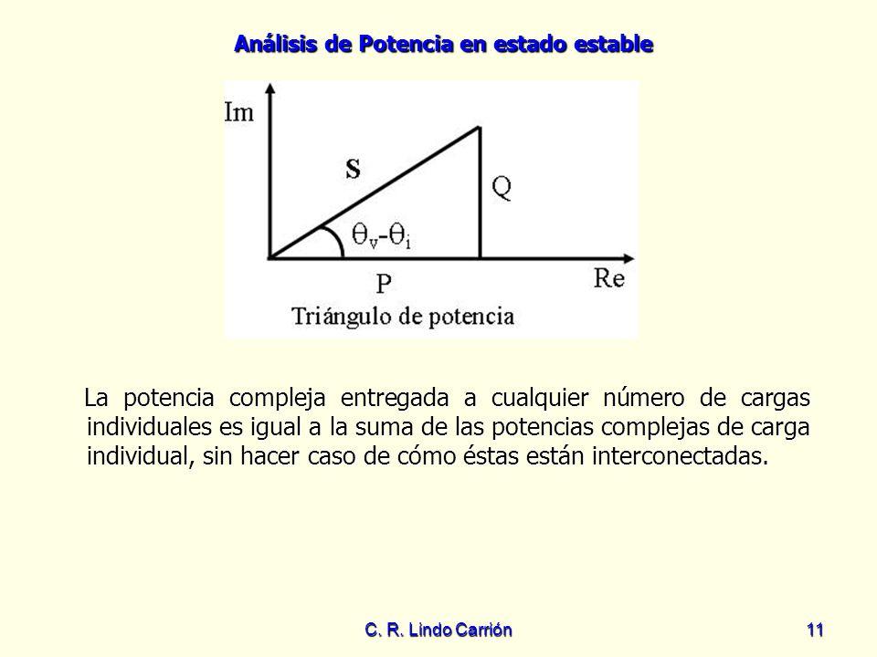 La potencia compleja entregada a cualquier número de cargas individuales es igual a la suma de las potencias complejas de carga individual, sin hacer caso de cómo éstas están interconectadas.