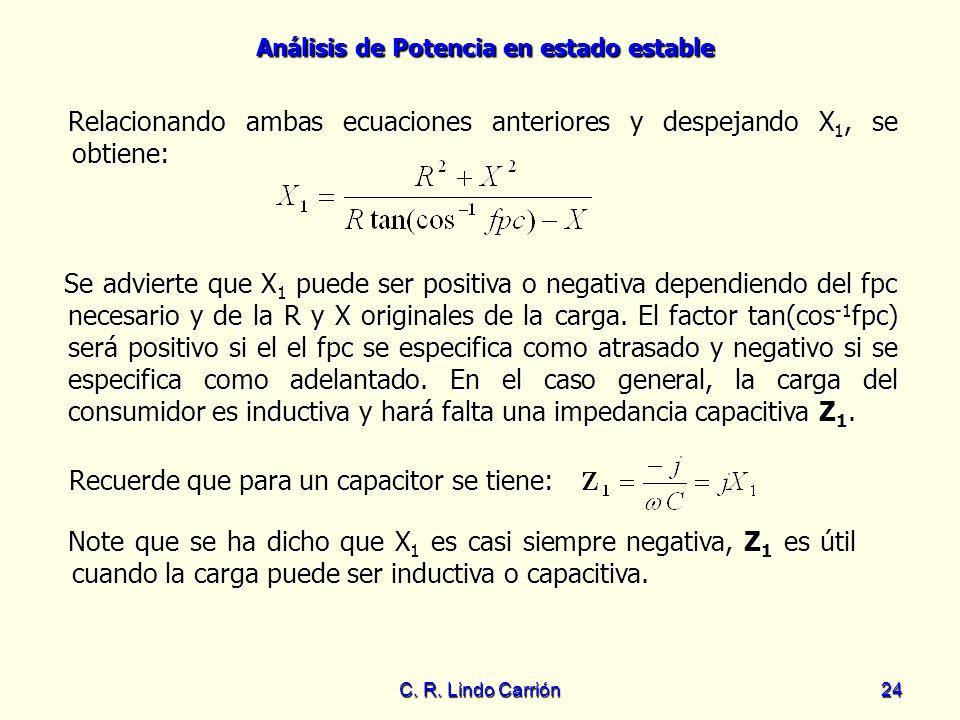 Relacionando ambas ecuaciones anteriores y despejando X1, se obtiene: