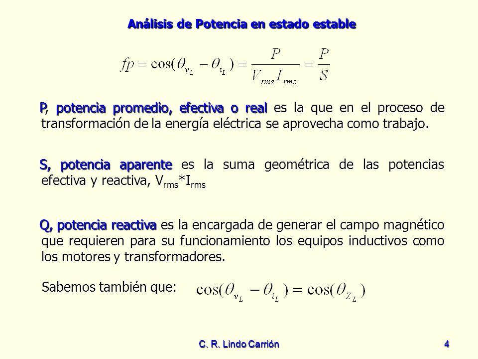 P, potencia promedio, efectiva o real es la que en el proceso de transformación de la energía eléctrica se aprovecha como trabajo.