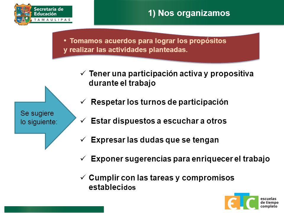 1) Nos organizamos Tomamos acuerdos para lograr los propósitos y realizar las actividades planteadas.