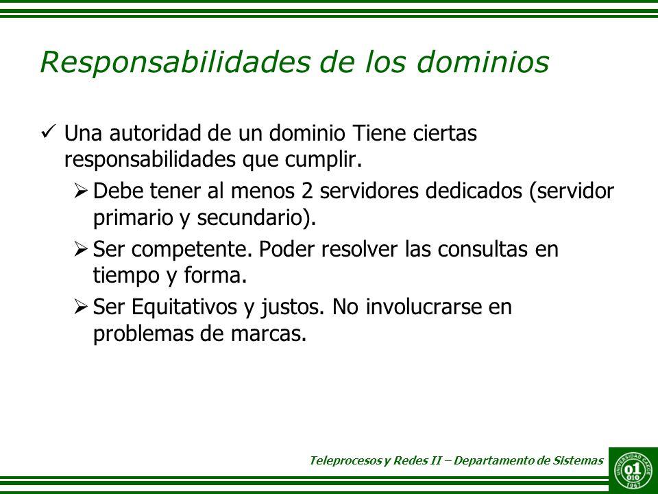 Responsabilidades de los dominios