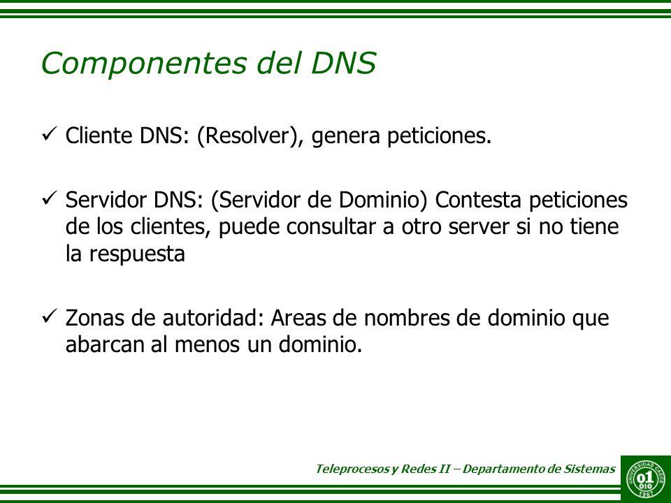Componentes del DNS Cliente DNS: (Resolver), genera peticiones.