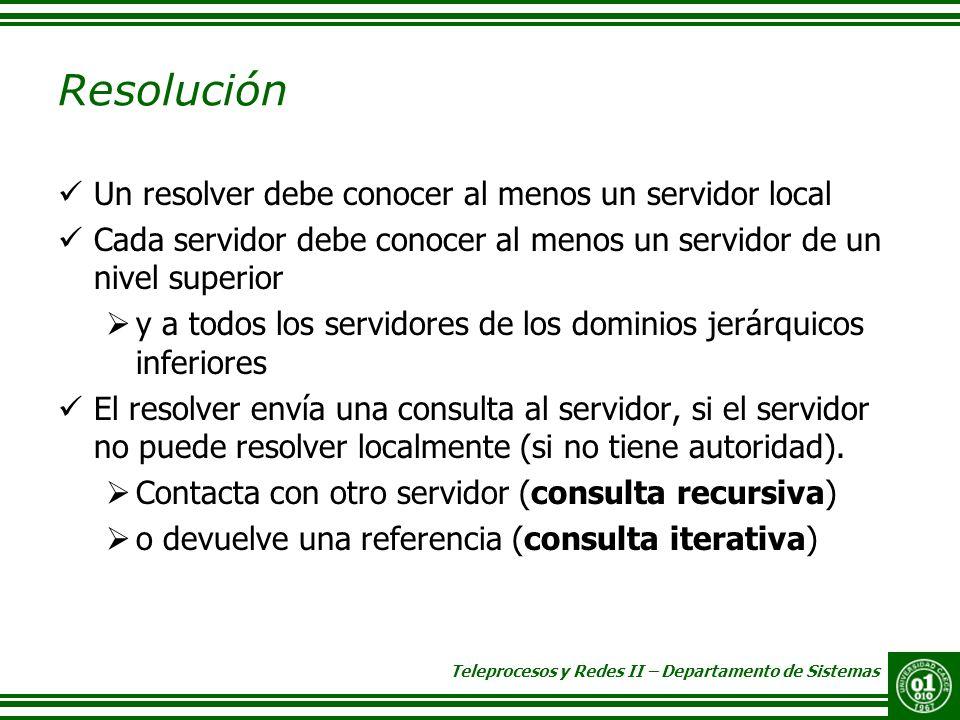 Resolución Un resolver debe conocer al menos un servidor local