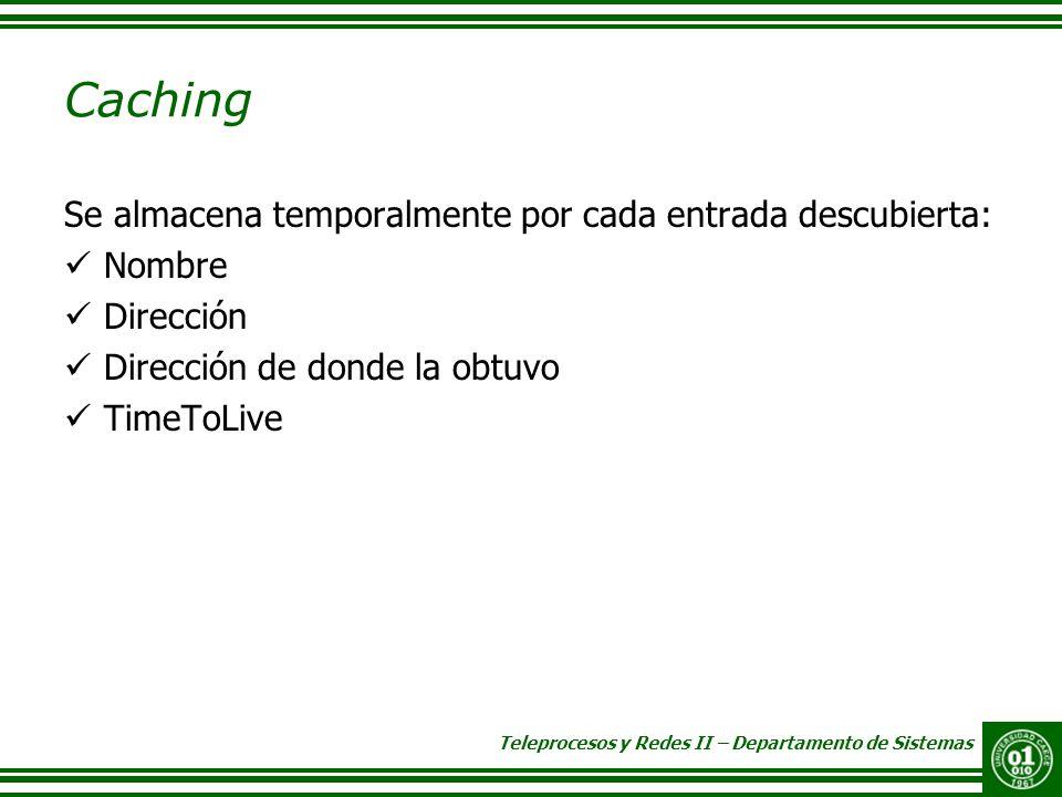 Caching Se almacena temporalmente por cada entrada descubierta: Nombre
