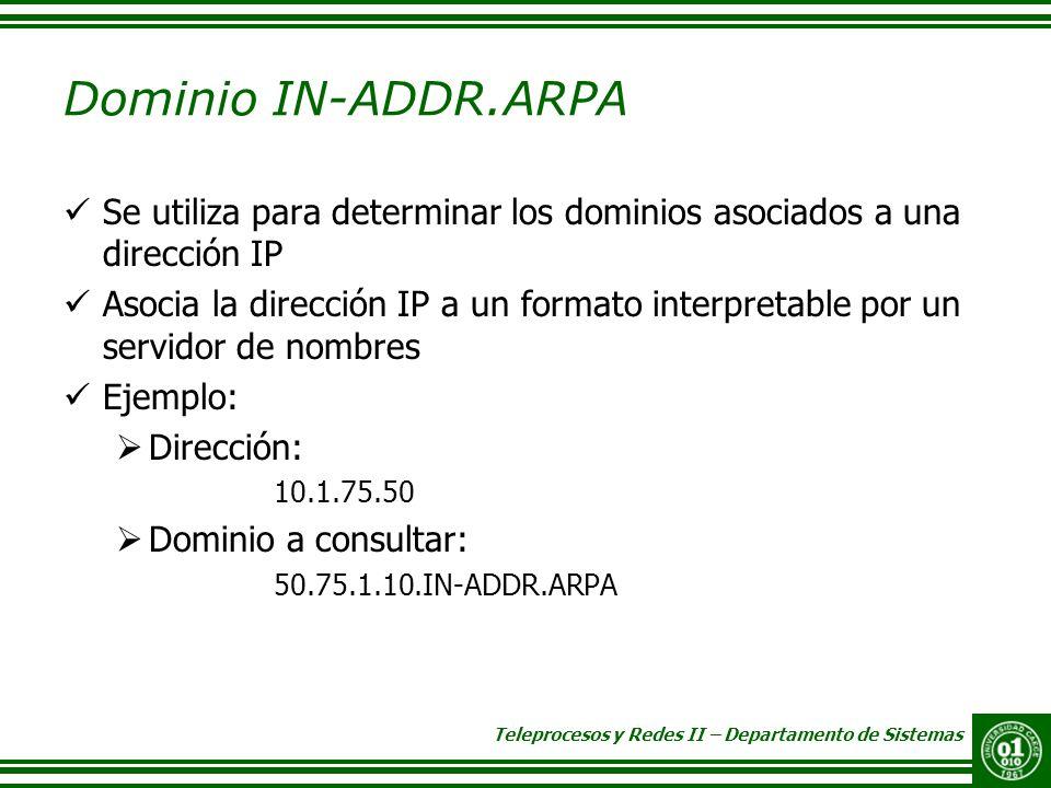 Dominio IN-ADDR.ARPA Se utiliza para determinar los dominios asociados a una dirección IP.