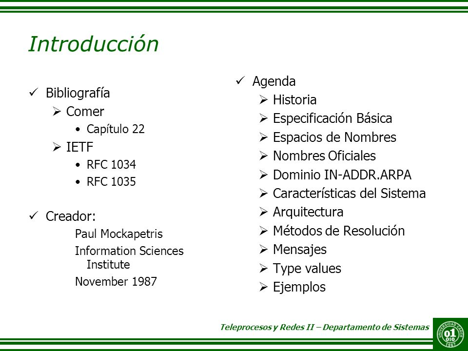 Introducción Agenda Historia Bibliografía Especificación Básica Comer