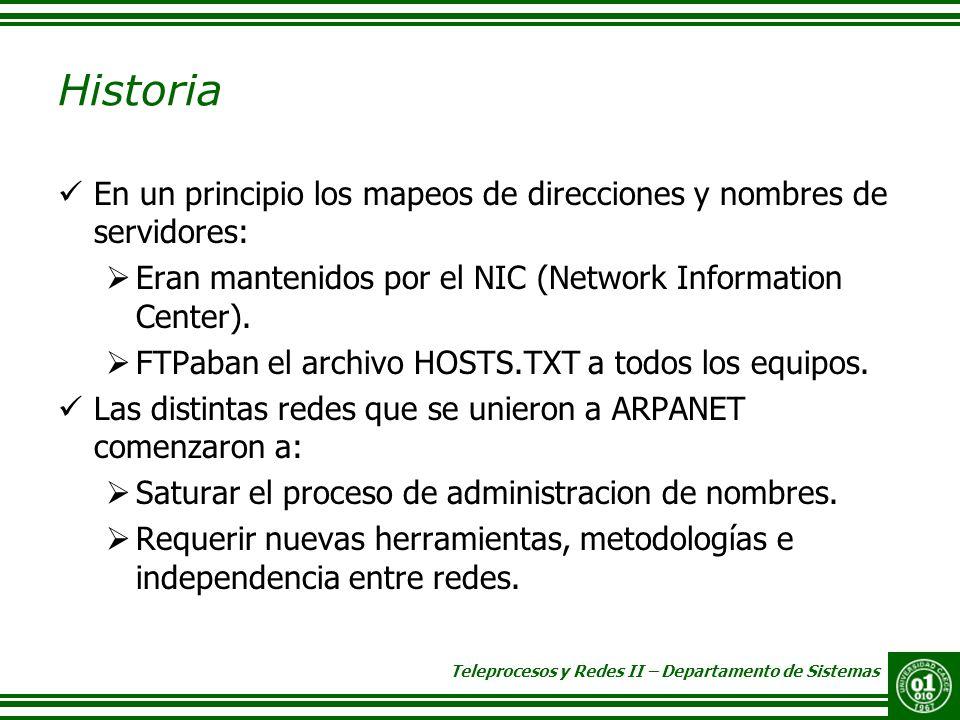 Historia En un principio los mapeos de direcciones y nombres de servidores: Eran mantenidos por el NIC (Network Information Center).