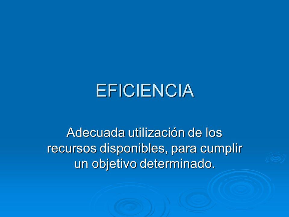 EFICIENCIA Adecuada utilización de los recursos disponibles, para cumplir un objetivo determinado.