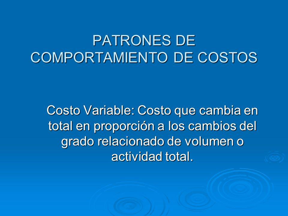 PATRONES DE COMPORTAMIENTO DE COSTOS
