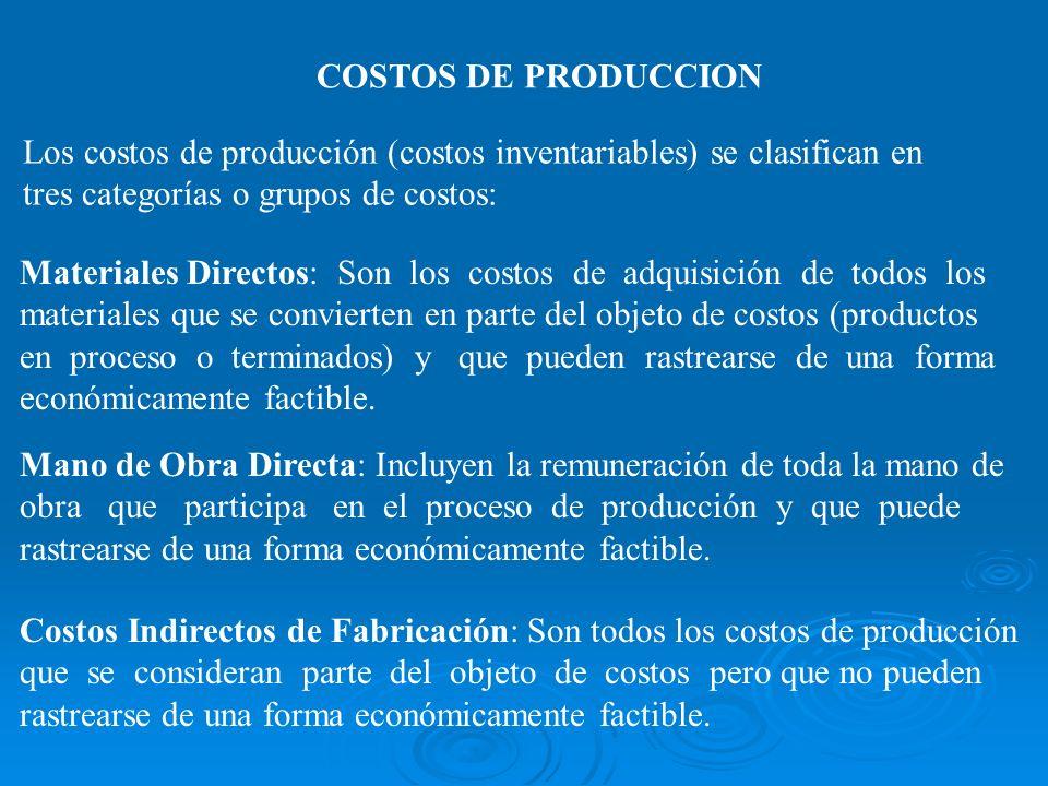 COSTOS DE PRODUCCION Los costos de producción (costos inventariables) se clasifican en. tres categorías o grupos de costos: