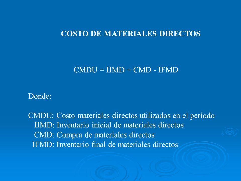 COSTO DE MATERIALES DIRECTOS