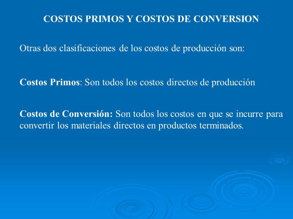 COSTOS PRIMOS Y COSTOS DE CONVERSION