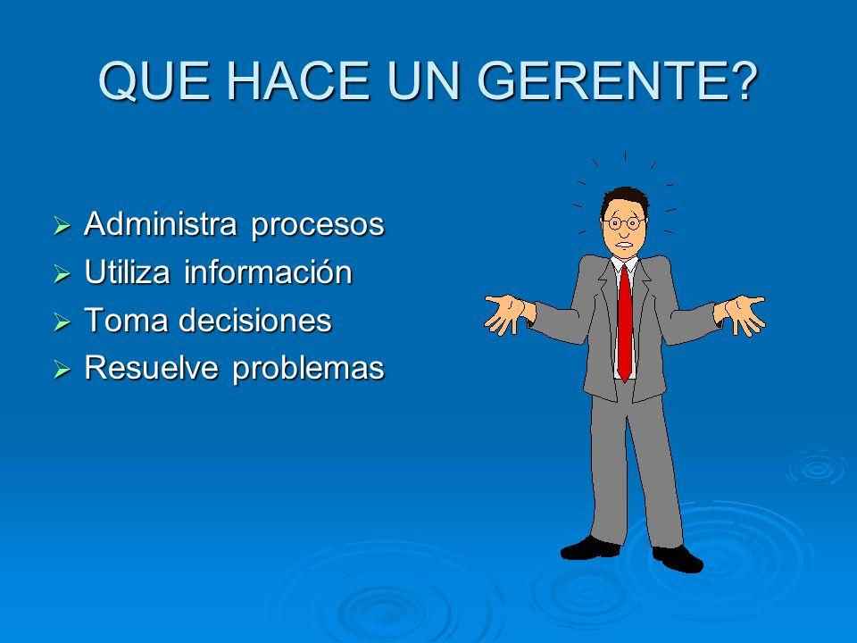 QUE HACE UN GERENTE Administra procesos Utiliza información