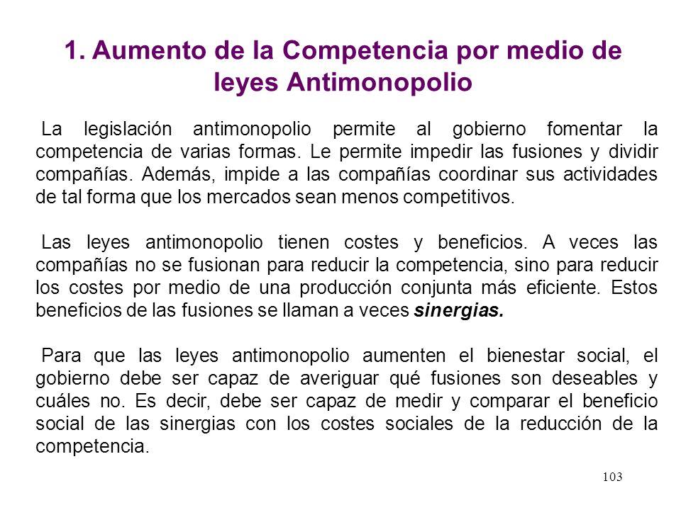 1. Aumento de la Competencia por medio de leyes Antimonopolio